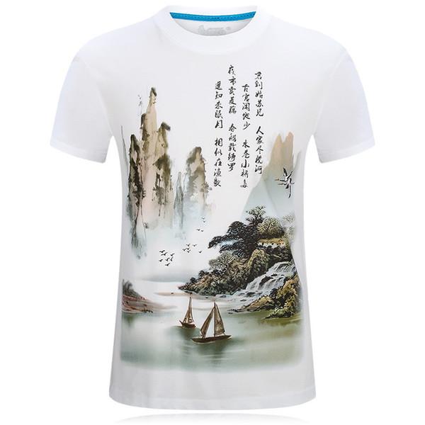 Summer Chinese Wind 3d t shirts men short sleeve designer t shirt print clothes Retro white t-shirt plus size loose tshirts for men