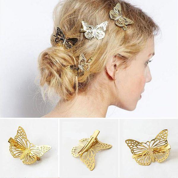 best selling 1 Pcs Headwear Hair Grips Metal Gold Butterfly Hair Clip Hairpins Barrette Jewelry For Women Girls Hair Accessories