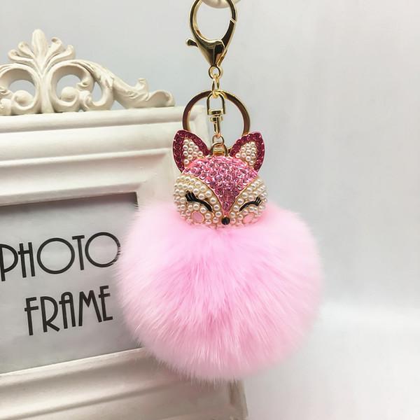 Adorável Fox Fur Bola Keychain Rhinestone Chaveiro Anel Bolsa Bolsa Pingente Chaveiro para namorada presente amigo