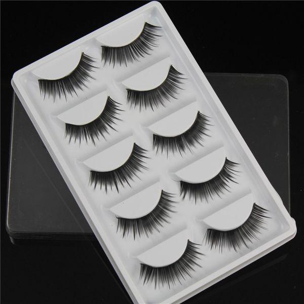 HOT False eyelashes 5 pairs of fan-shaped long paragraph natural curling up the eyelashes W32 Smokey Makeup Eye Lashes wholesale