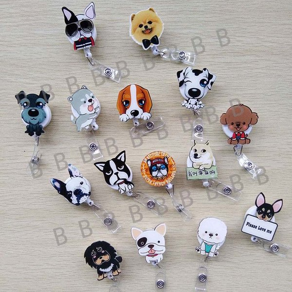 50 pcs/lot Cute Cartoon Dog Retractable Badge Reel Exihibiton ID Name Card Badge Holder Office Supplies