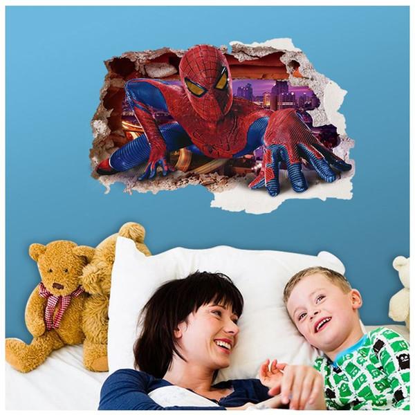 AY9269 3d spiderman adesivos de parede decalques de parede removível pvc superman adesivos de parede home decor mural dos desenhos animados decoração