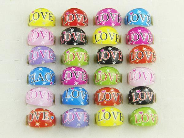 wholesale 500 Pcs/Lot Mix New Party Gift Bag Fit LOVE Kid Resin Rings Children Lovely Present #3