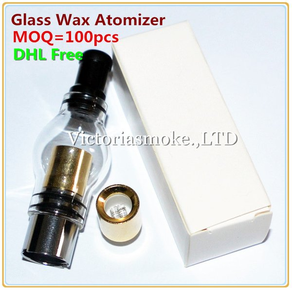 DHL Free MOQ=100pcs Glass Globe Atomizer Dry Herb Vaporizer Wax Vapor Tank with Gold Dual quartz Coil Head for EGO T Evod Battery