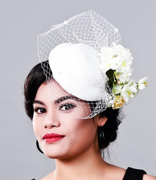 Women Fancy Feather WHITE beauty Fascinator Headwear Wedding Hats and Fascinators White Net Hair Accessories for Bridal Woman MD16009