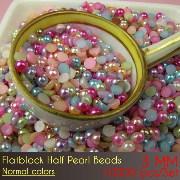 ABS Flat Back Half Pearl Beads 3mm Normal Color 10000pcs/Set Craft ABS Imitation Pearls Half Round Flatback Pearls
