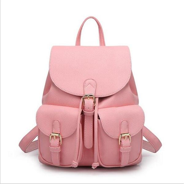 DIDA BEAR Damen Leder Rucksack Schwarz Bolsas Mochila Feminina Große Mädchen Schulranzen Reisetasche Solid Candy Farbe Pink Beige