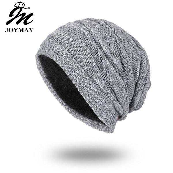 Joymay Marca inverno cappelli per gli uomini cappello di colore solido uomo semplice Warm Soft Skull maglia Cap Touca Gorro Cappelli Vogue Knit Beanie WM055