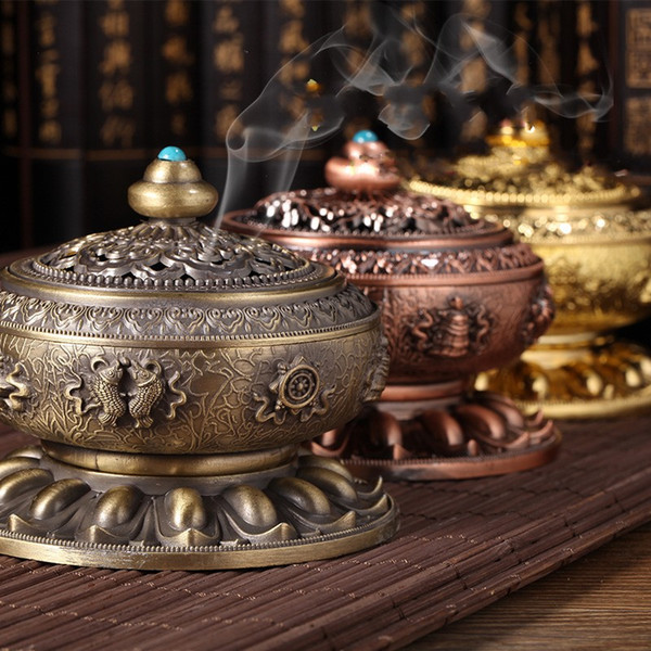 Alloy Incense Burner Buddhist Supplies Thurible Creative Home Decor Eight Treasure Incensory Metal Arts And Crafts Gift 24zg C R