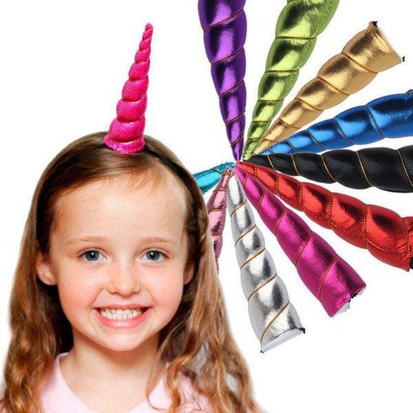Unicornio Cuerno Headwear Kids Infant Cartoon Bandas del pelo Bonus DIY Hairband Diadema de Halloween Navidad Decorativo OOA3086