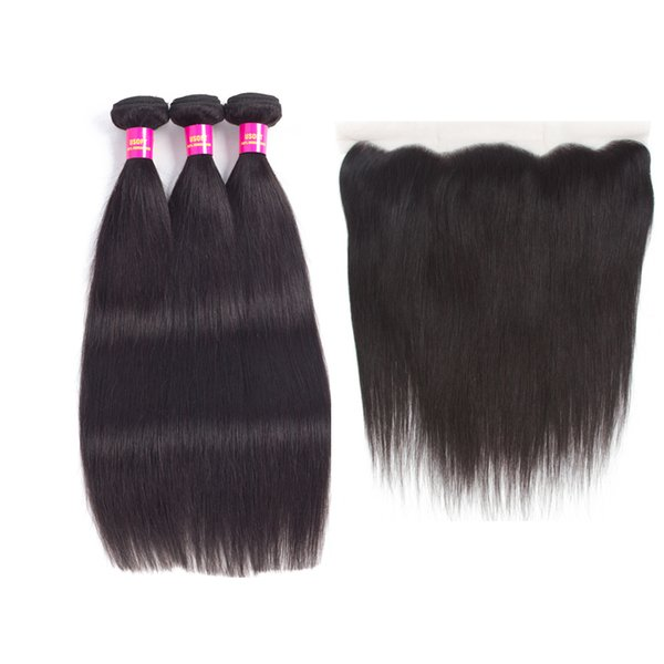 7A Brazilian 100% Virgin Human Hair 3 Bundles With 13x4 Lace Frontal Closure Natural color soft hair