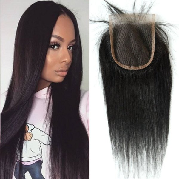 4x4 free part lace closure with bleached knots Asian human hair natural color straight Top closures FDSHINE