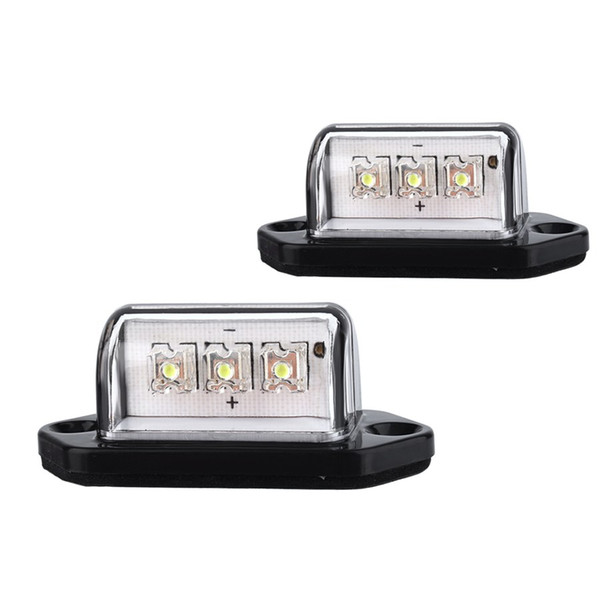 1 Pair 12V 3LEDs Number Licence Plate Light Rear Tail Lamp Truck Trailer Lorry Auto Lights White