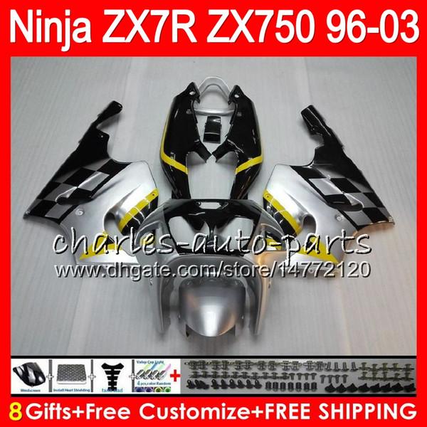 8Gifts 23Colors For KAWASAKI NINJA ZX7R 96 97 98 99 00 01 02 03 18NO57 Silver black ZX750 ZX 7R ZX-7R 1996 1997 1998 2001 2002 2003 Fairing