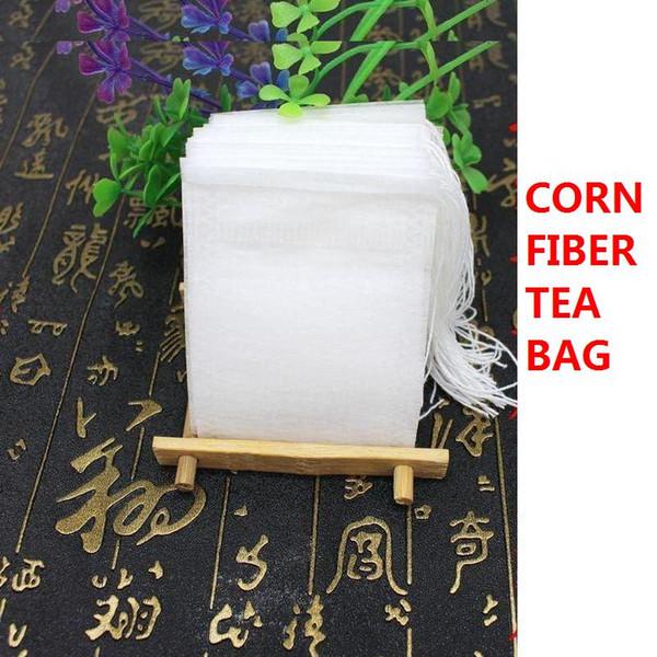 New 8*10cm Empty Tea Bags Corn fiber Filter Single Drawstring Herb loose Teabags Disposable