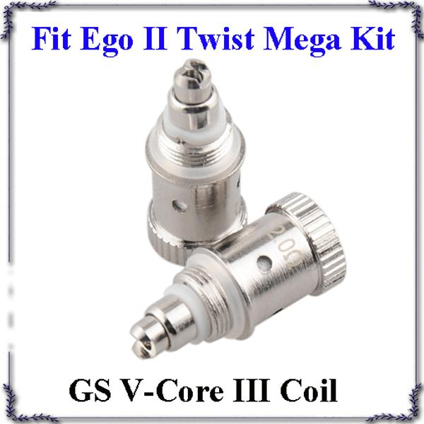 GS V-Core III Atomizer coils H2S V Core 3 Bottom Dual Heating Coil 1.8-2.2ohm Fit Ego II Twist Mega Kits DHL