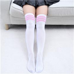 white with pink stripe