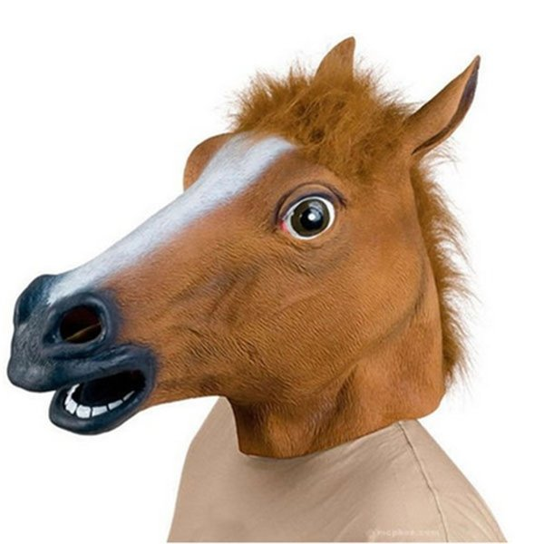 Wholesale-New Horse Head Mask Creepy Halloween Costume Theater Prop Latex Rubber Novelty Masks