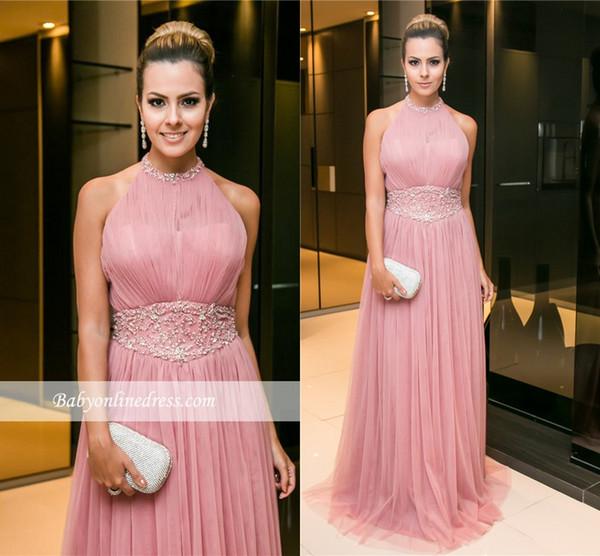 Compre Nueva Pink Tulle Una Línea De Vestidos De Noche 2017 Halter ...