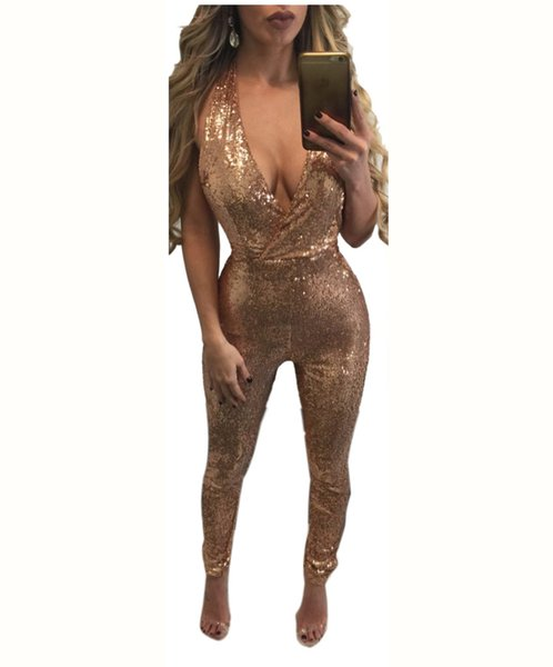 Wholesale- Deep V Neck Sleeveless Sequin Bodycon Jumpsuit Sexy Women Black Gold Backless Long Skinny Bodysuit Fashion Plus Size Overalls