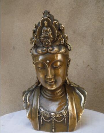 Chinese Buddhism Brass Copper Kwan-yin Guanyin Sakyamuni Buddha Head Statue