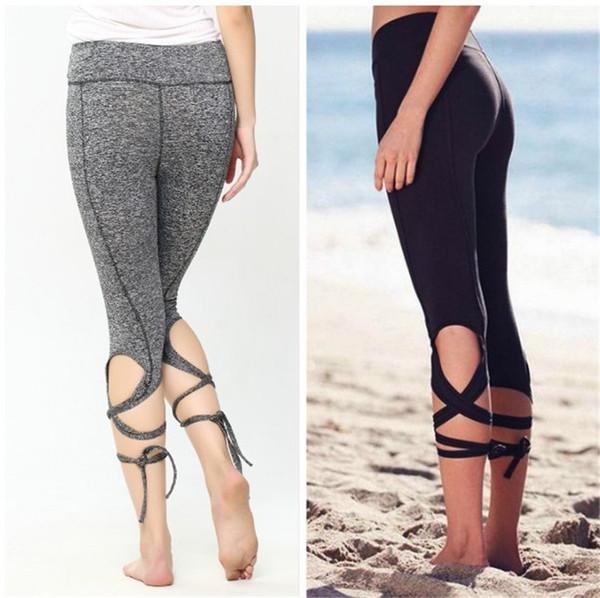 Fashion Women Leggings Sexy Winding Lace-up Sport Yoga Leggings Fitness Pants Gym Legging Dance Ballet Tie Wrap Bandage