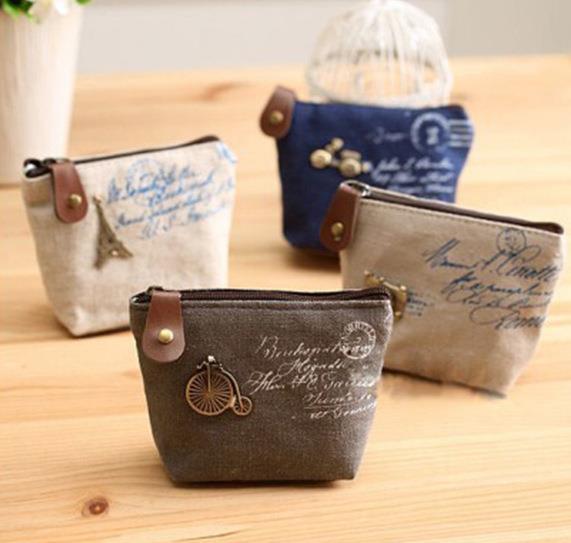 Vintage Women canvas change coin Purse wallet keys bag pocket holder cosmetic makeup organize children party favor