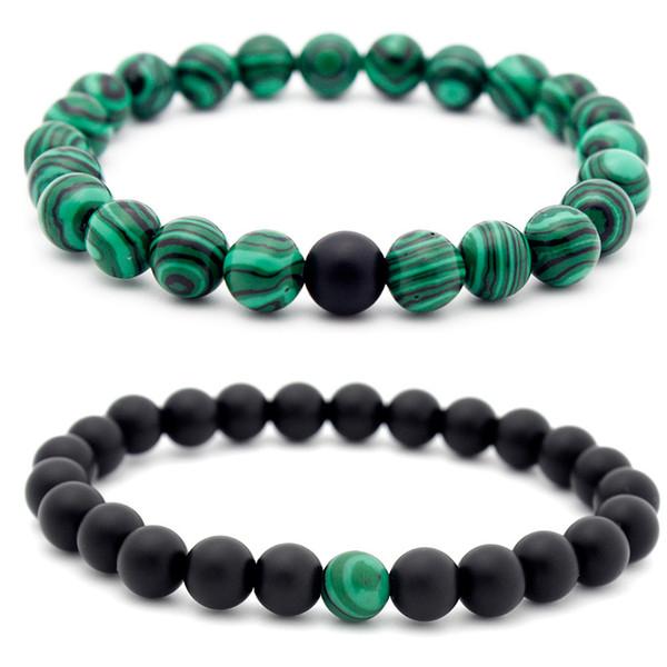 8mm gemma fatta a mano in malachite pietra preziosa semipreziosa 6mm perle tonde braccialetto amante amante tratto 7