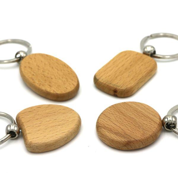 Porte-clés en bois rond, ovale, en forme de cœur, rectangulaire en bois Porte-clés en bois de hêtre Porte-clés en bois pendentif circulaire cadeau créatif