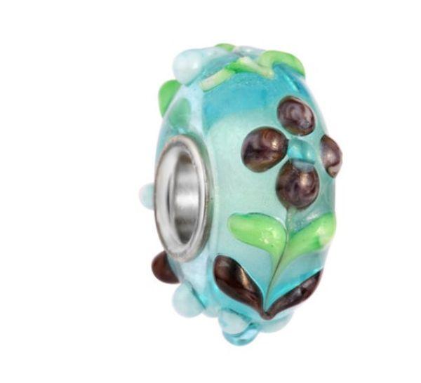 Mixed 10Pcs 925 Sterling Silver Core Blue Flower Murano Lampwork Glass Charm Beads For Pandora European Jewelry Charms Bracelet DIY Woman