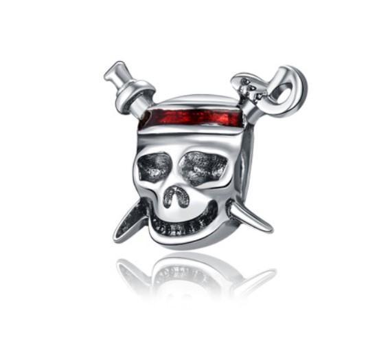 Perlen Viele DIY Lose perlen Heißer verkauf Hohe qualität Silber P Halloween Schädel Piraten Europäischen Perlen Charme Pandora Armband Halskette DIY