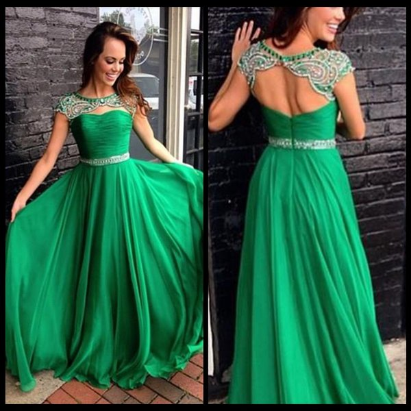 Sexy Green Prom Dresses Chiffon Beaded Cap Sleeve Backless Formal Modest Evening Gowns 2017 Custom Made Bridesmaid vestidos