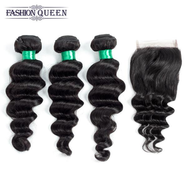 Brazilian Virgin Hair 4 Bundles With Closure Loose Curly Brazilian Loose Wave With Closure 5Pcs Human Hair Weaves 4*4 Lace Closures
