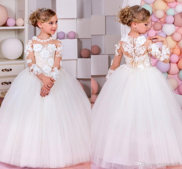 2019 New Flower Girl Dresses Long Sleeves for Weddings Baby Girl Pageant Gowns First Communion Dress for Little Girls