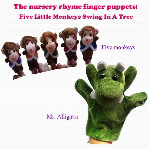 Retail World Nursery Rhyme Puppets-Five Little Monkeys Swing In A Tree Plush Finger Puppets For Kids/Students Talking Props