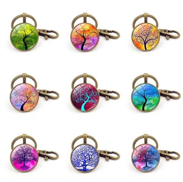 Good A++ Hot Life Tree Pendant Keychain Time Gemstone Key Ring Custom KR235 Keychains mix order 20 pieces a lot