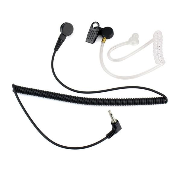 3.5mm Mono Jack Transparente Flexível Acústico Tubo de Ouvido Ouvir Apenas Fone de Ouvido para Walkie Talkie Rádio com Cabo Enrolado C2140A