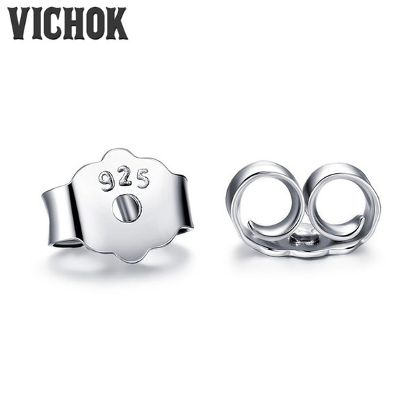 top popular Wholesale Earplugs 925 Sterling Silver Earrings Plug Back Fashion Fine Jewelry Prevent Allergies Earrings Accessories VICHOK 2019