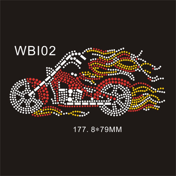 "Popular motorbike WBI02# 7""Wx3.2""H Colorfull hot fix rhinestone heat transfer designs 30piece Free design fee"