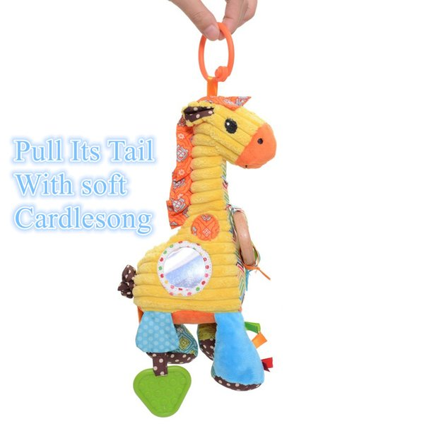 Wholesale- Plush Cartoon Animal Giraffe Baby Dolls with Cradlesong Infant Kids Stroller Bed Baby Developmental Educational Training Toy