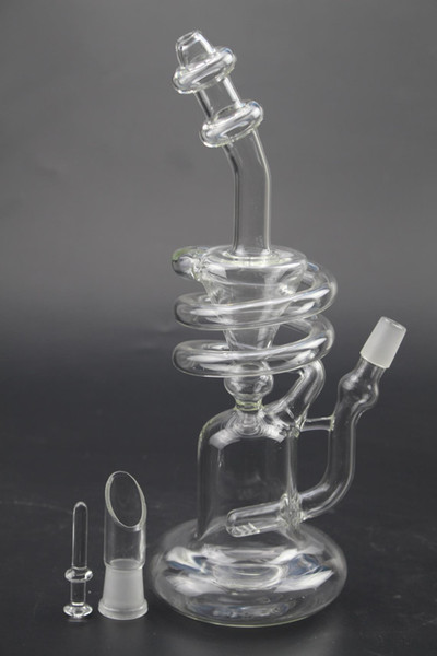 recycler glass bong Spiral Coil oil Rigs glass bongs banger triple cyclone inline heady bongs dab oil rigs gear perc water pipe
