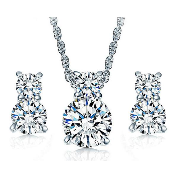 Oro bianco 18 carati placcato chiaro cubic zirconia CZ carino gattino gatto orecchini catena collana set di gioielli per le donne ragazze