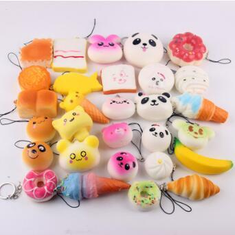 5-7cm Mini Simulation Toys Squishy Soft Bread Squishy Soft Panda Bread Cake Phone Straps Charms Slow Rising Phone Pendent CCA7157 300pcs