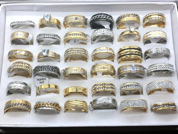 Toptan Lot 30 adet Mix Stil erkek kadın Moda Taş Alyans Nişan Yüzüğü Takı Hediye Yüzük