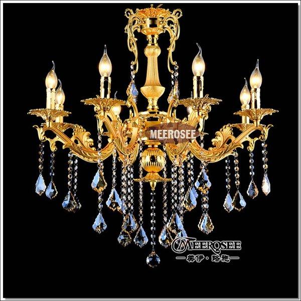 gold kristall kronleuchter leuchte 8 arme klassische metall kronleuchter kristall lustre hngelampe fr foyer stadthaus hotel - Kronleuchter Fur Foyer