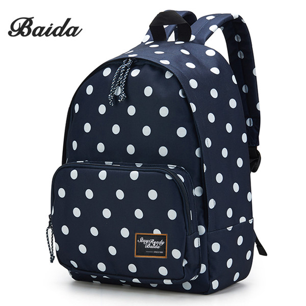 Wholesale- BAIDA Brand Black Polka Dots Backpack High Quality Fashion Backpacking Bag School Student Daypack Backpacks for Teen Girls