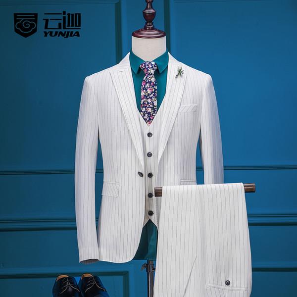 Costume d'affaires 2017 pour hommes blanc Rayures verticales MARIAGE FORMEL BRIDEGROOM Tissu en treillis costumes smokings marié Meilleur homme (veste + pantalon + veste + cravate)
