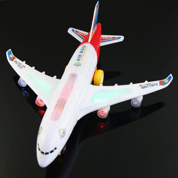 Avión eléctrico, luces intermitentes, sonidos, juguetes para niños, juguetes de regalo de aviones de bricolaje, plástico / ABS, juguetes de avión para niños
