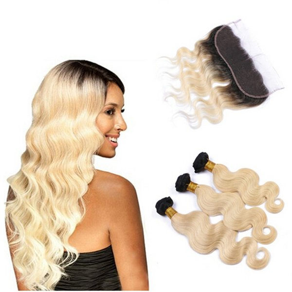 9A Two Tone 1B 613 Platinum Blonde Dark Roots Ombre Body Wave Russian Virgin Human Hair 3Bundles With 13x4 Full Lace Frontal Closure
