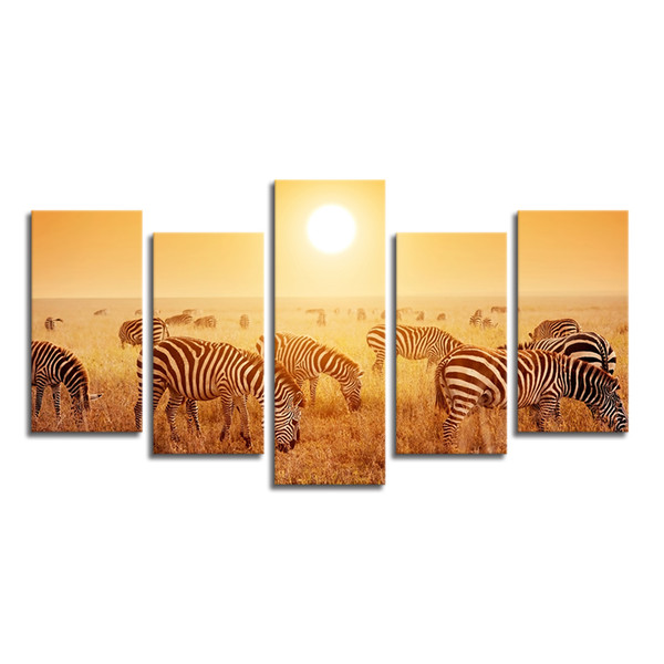 Nature Wildlife Canvas Art Print Home Wall Decoration Canvas Printing 5 Pieces Group Printing of Zebra Gold Landscape Giclee Print